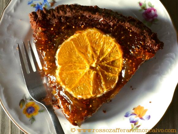 Crostata veg al cacao, confettura di fichi e arancia